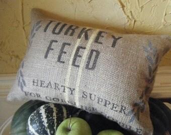 Original Feed Sack Inspired Burlap Turkey Feed Pillow