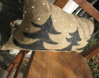 Pines in Snow Burlap Pillow