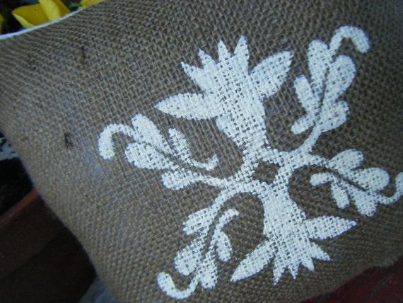 Burlap Pillow with Flourish