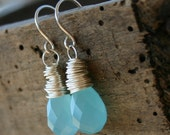 Aqua Blue Chalcedony Sterling Silver Wire Wrapped Earrings - Ocean
