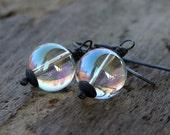 Rainbow Mystic Quartz Oxidized Sterling Silver Dangle Earrings - Bubbles