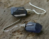 Sale - Inky Blue Iolite Nugget Sterling Silver Wire Wrapped Earrings - Compass  READY TO SHIP