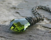 Swarovski Crystal Antique Brass Wire Wrapped Necklace Olive Green Jewelry - Olive Branch