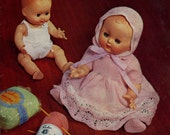 """Vintage Baby Doll's Outfit for 10"""" and 14"""" Doll, Knitting Pattern, 1960 (PDF) Pattern, Sirdar 7699"""