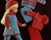 """Vintage Outfit for 16""""-18""""-20"""" Doll, Sweater,Trews,Dress,Fair Isle Sweater,Skirt,Cap, Knitting Pattern, 1960 (PDF) Pattern, Bellmans 1031"""