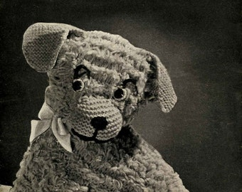 """Vintage Cuddly Curly Pup, Approx 10"""" in Height, Knitting Pattern, 1950 (PDF) Pattern, Weldons 292"""
