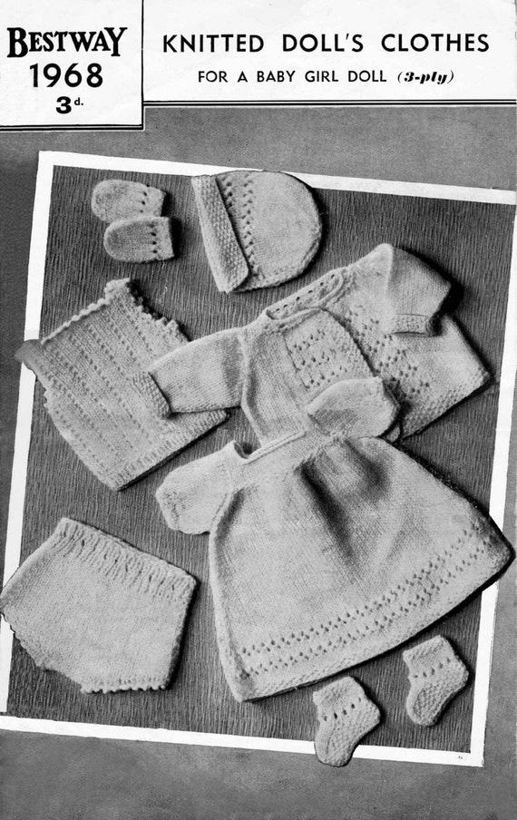 """Vintage Outfit for 12"""" Baby Girl Doll, (Coat,Bonnet,Frock,Vest,Pilch,Bootees,Mitts) Knitting Pattern, 1950/1960 (PDF) Pattern, Bestway 1968"""