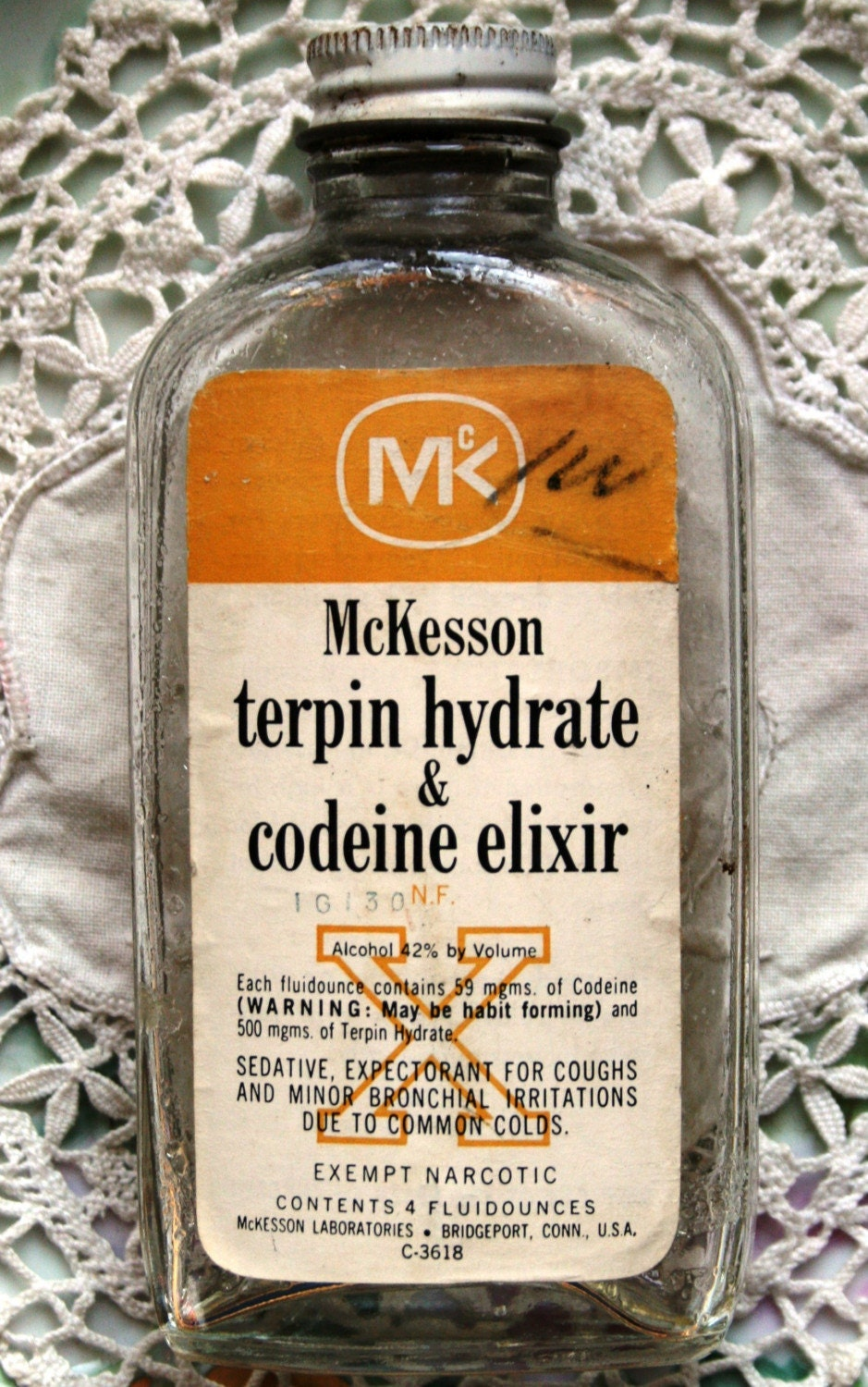 Vintage Mckesson Terpin Hydrate And Codeine Elixir Bottle