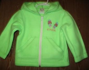 Handmade Wee Baby Bundles, Size 4, Lime Green Fleece Hoodie/embroidered