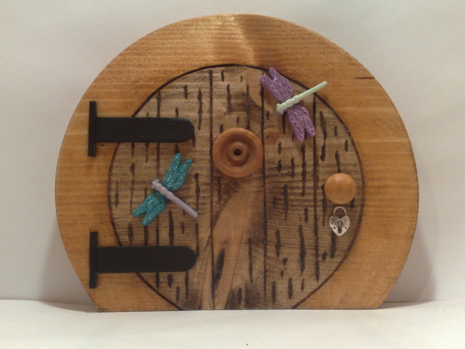 Round wooden fairy hobbit door by fairyrade on etsy for Wooden fairy doors