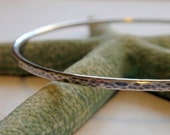 Silver Bangle Oxidized Simply Stunning in Hammered Sterling