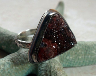 SALE Druzy Ring in Oxidized Sterling Silver Size 9