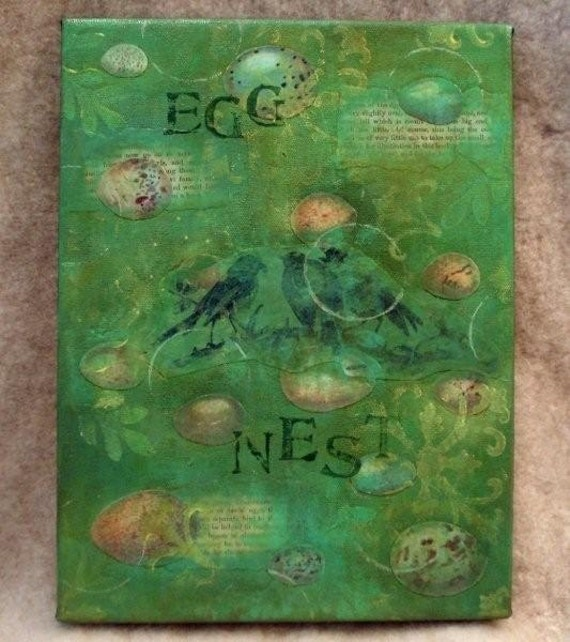 Birds Eggs Mixed Media Collage Painting Shades of Green