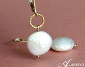 Coin pearl earrings