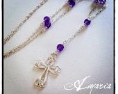 Amethyst filigree cross necklace