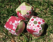 pink and green flowers - blocks for baby