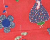 """Sunbonnet Sue Red and Blue Vintage Fabric - 2 1/4 yd (43"""")"""