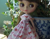 Reserved for DeeBear1  Red and pink dacshunds dress for Blythe