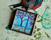 Tree of Life Necklace - Pendant - Abstract Painting - Blue - Original Dana Marie Wearable Art  - Handpainted Painting - Glass Locket