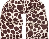 EXTRA LONG Therapy Neck and Shoulder Heat Wrap, Microwavable, Animal Print Flannel Fabric,  Flaxseed and Lavender