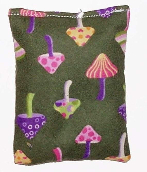 MINI  -  Kids Hot Cold Pack  -  Flaxseed Only -  Mushroom Flannel Fabric