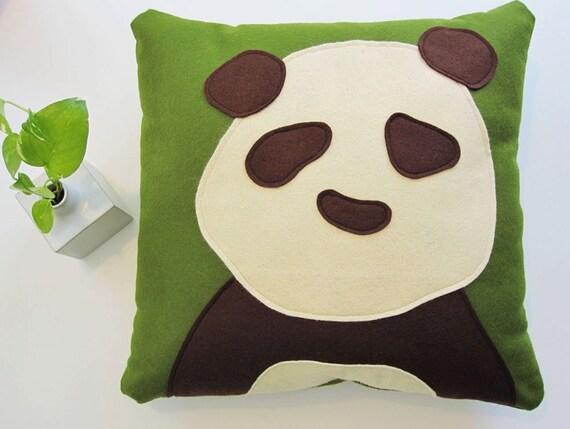 Panda Pillow in Moss Green