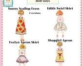 """Jona Giammalva Doll Combo 1 (4 patterns) 18"""" and baby doll pdf pattern e-book"""