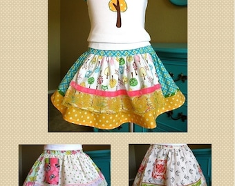 Evelyn Apron Skirt PDF Sewing Pattern Instructions for Girls 2T - 6, twirly skirt pattern, party skirt pattern, easy sewing tutorial pattern