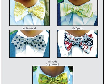 Mr. Hipster Bow Tie Pattern eBook pdf Men and Boy's 5 styles, downloadable bow tie pattern, instant download, easy bow tie, boys bow tie