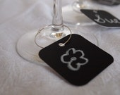 Wine Charms, SQUARE, Wedding pack, chalkboard tags, beverage labels, glass tags, PARTY PACK Set of 100,  handcrafted by tlgcrafts on Etsy