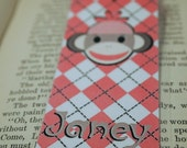 Bookmark -  PINK Sock Monkey, Personalized, handmade by tlgcrafts on ETSY