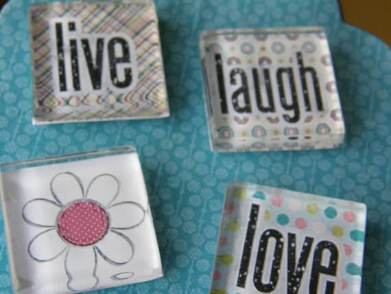 glass square magnets - Live, Laugh, LOVE set super neodymium, rare earth,  by tlgcrafts on Etsy