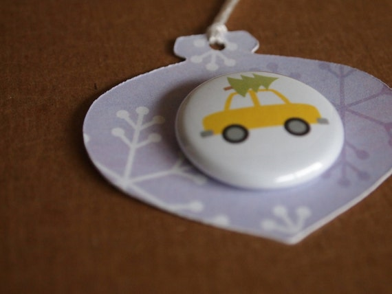 1 inch pin, Christmas pin ORNAMENT, pinback button, magnet card, tree, yellow truck,  by TLGCRAFTS on Etsy