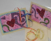 Greeting Cards TWO Blank Celebration ART QUILT cards