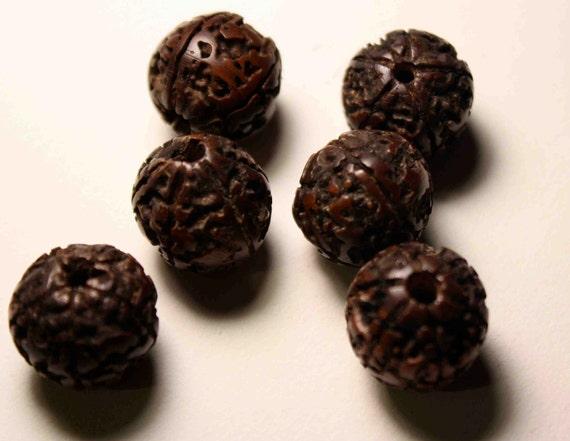 Large Vintage Rudraksha Tree Seed Beads Shiva Tears