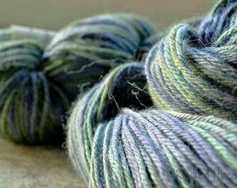 Peru light worsted alpaca, merino, silk sea greens and blue