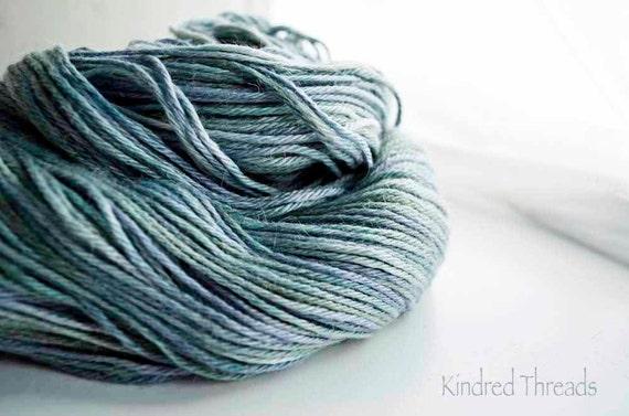 Sea green Kawaii Hand painted 70% Alpaca /30 Tussah Silk sport weight yarn