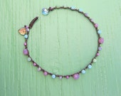 Spring fling crocheted anklet in peruvian opal, fun boho, earthy, beach, sportswear