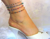 Swarovski anklet crocheted on any color cord you like, beachy, honeymoon, vacation, pretty sparkling