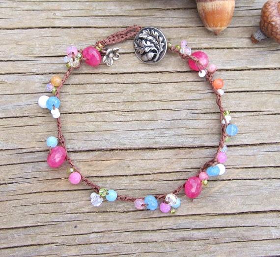 Harmony earthy Ruby Sapphire bracelet, boho/earthy/chic/