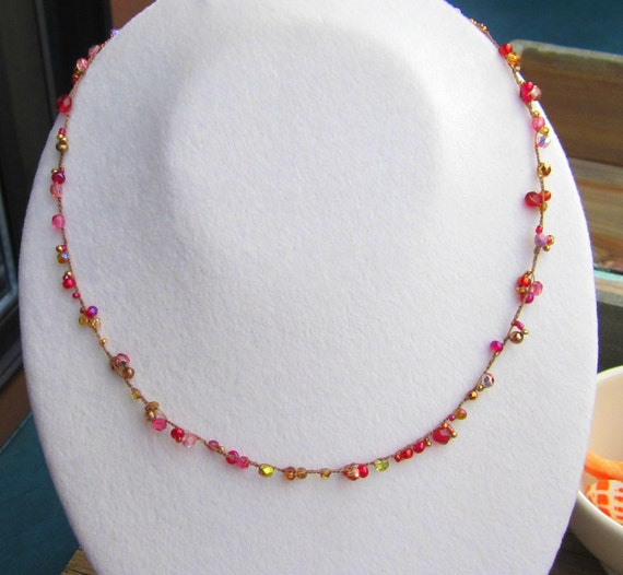"Blossoms ""French Rose"" crocheted dainty necklace in pink and gold"