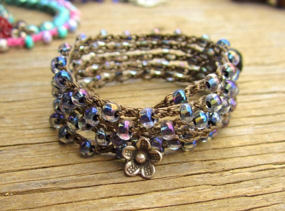 Blueberry crocheted wrap bracelet or necklace,boho,summer wear, fun, hiker, swim/sportwear