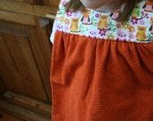 No More Messy Me Towel Smock Bib Orange Owl