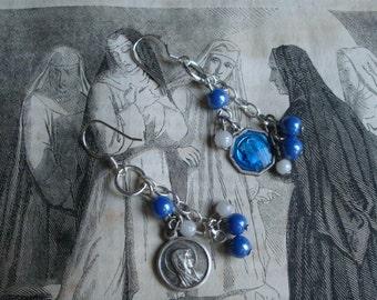 Pendants  Religious medals  Blue earrings