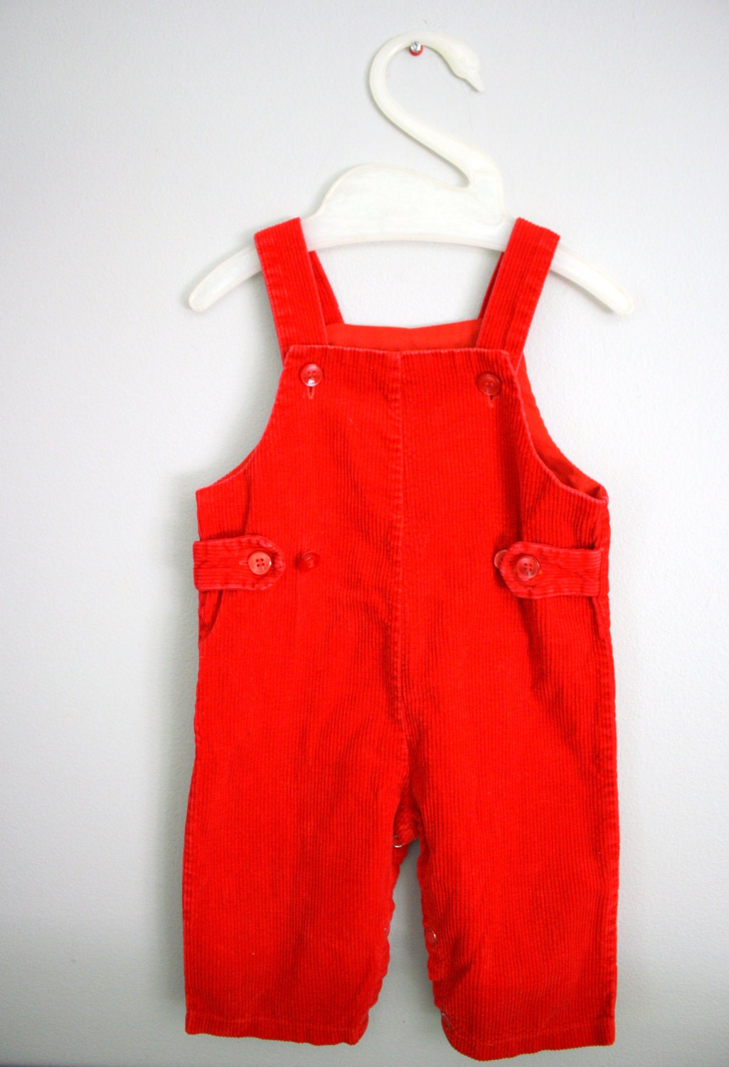 Vintage 70s 80s Red Corduroy Overalls 6 9 Months