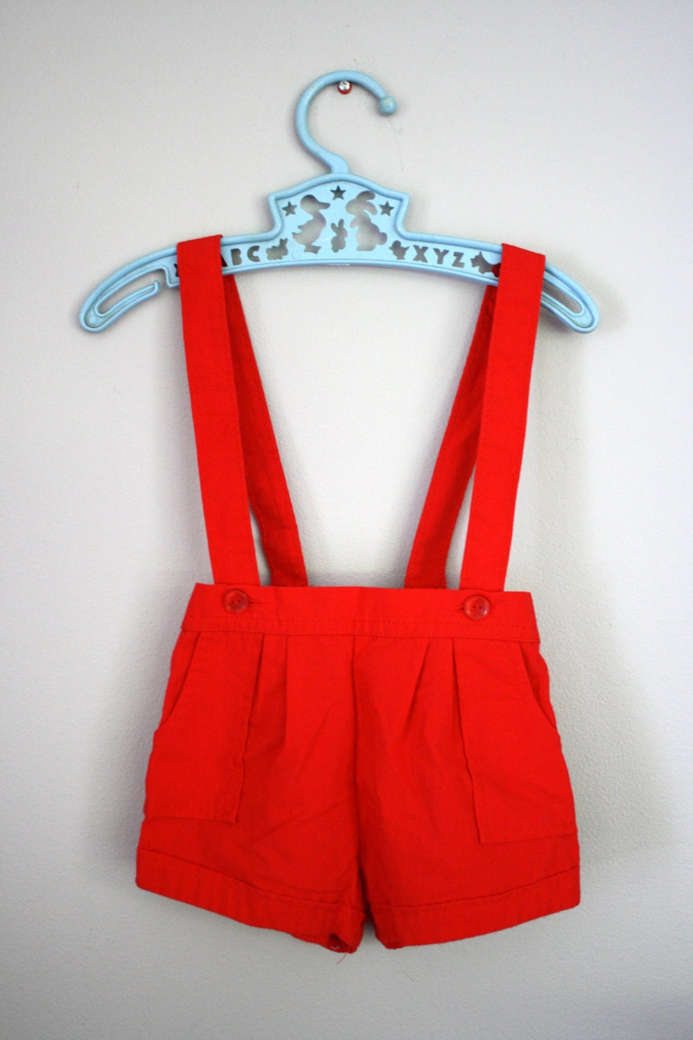 80s Red Shorts Suspender Overalls 9 12 Months