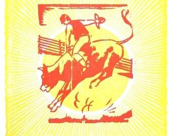 VIVA NASHVEGAS TM Bull Rider LetterPress Poster by Hatch Show Print, Nashville