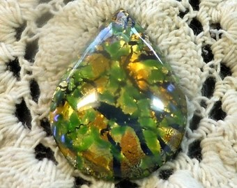 30mmx22mm Green/Cobalt Opal Lampwork Preciosa Teardrop Cabochon