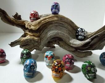Large Dia de los Muertos Sugar Skull Bead with jeweled eyes