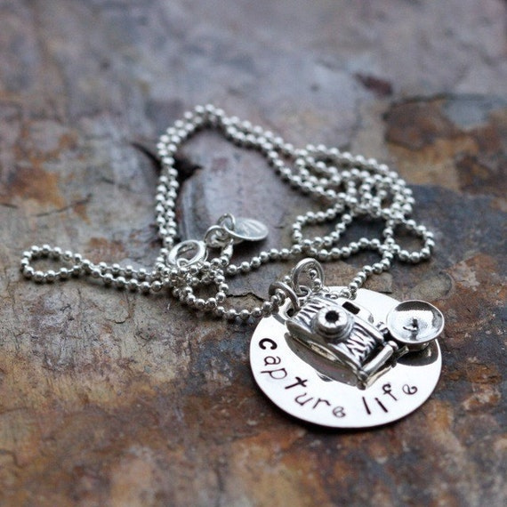 Camera charm necklace in sterling silver, Capture Life or custom phrase